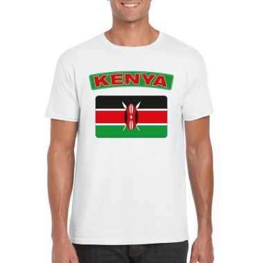 T-shirt keniaanse vlag wit heren