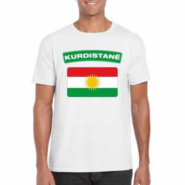 T-shirt koerdistaanse vlag wit heren