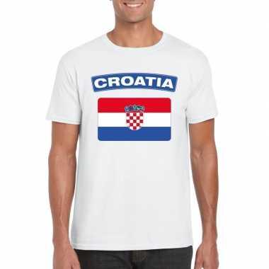T-shirt kroatische vlag wit heren