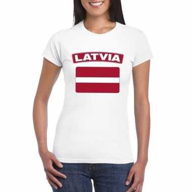 T-shirt letlandse vlag wit dames
