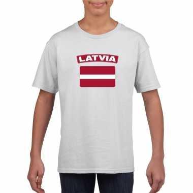 T-shirt letlandse vlag wit kinderen