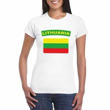 T-shirt litouwse vlag wit dames
