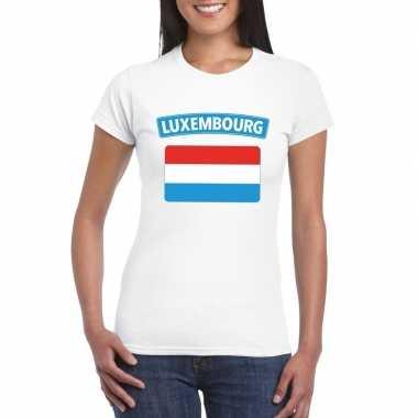 T-shirt luxemburgse vlag wit dames