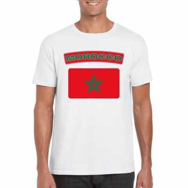 T-shirt marokkaanse vlag wit heren