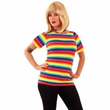 T-shirt met fel gekleurde strepen voor dames