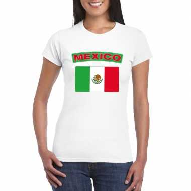 T-shirt mexicaanse vlag wit dames