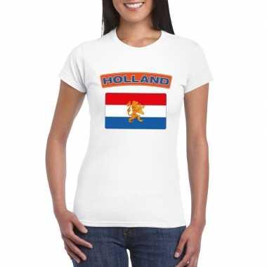 T-shirt nederlandse vlag wit dames