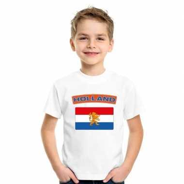 T-shirt nederlandse vlag wit kinderen