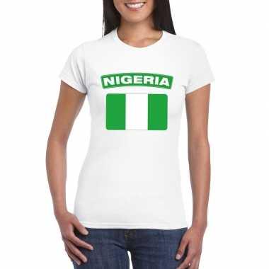 T-shirt nigeriaanse vlag wit dames