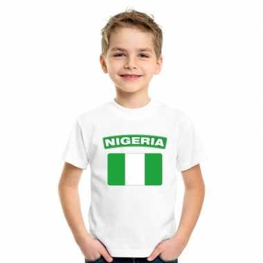 T-shirt nigeriaanse vlag wit kinderen
