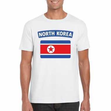 T-shirt noord koreaanse vlag wit heren