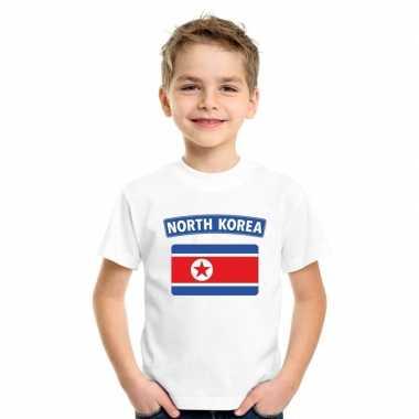 T-shirt noord koreaanse vlag wit kinderen