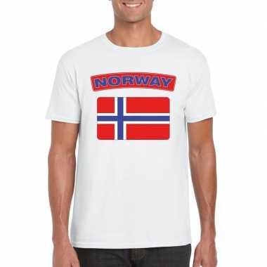 T-shirt noorse vlag wit heren