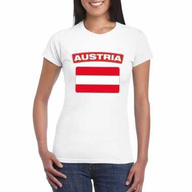 T-shirt oostenrijkse vlag wit dames