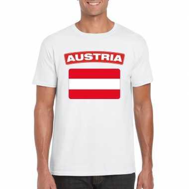 T-shirt oostenrijkse vlag wit heren