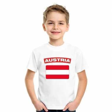T-shirt oostenrijkse vlag wit kinderen