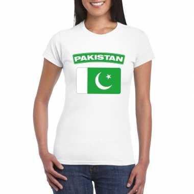 T-shirt pakistaanse vlag wit dames