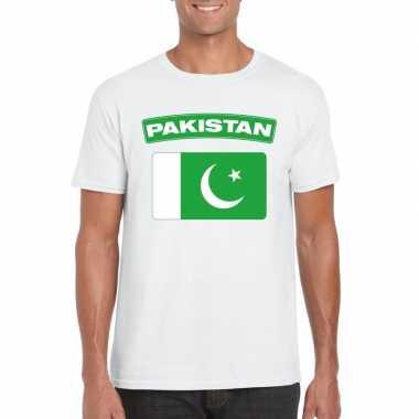 T-shirt pakistaanse vlag wit heren