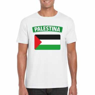 T-shirt palestijnse vlag wit heren