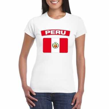 T-shirt peruaanse vlag wit dames