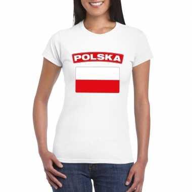T-shirt poolse vlag wit dames