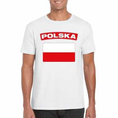 T-shirt poolse vlag wit heren