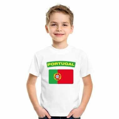 T-shirt portugese vlag wit kinderen