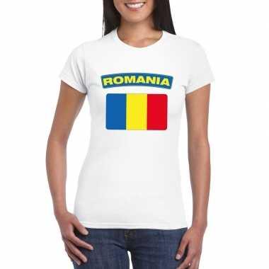 T-shirt roemeense vlag wit dames