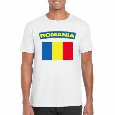 T-shirt roemeense vlag wit heren