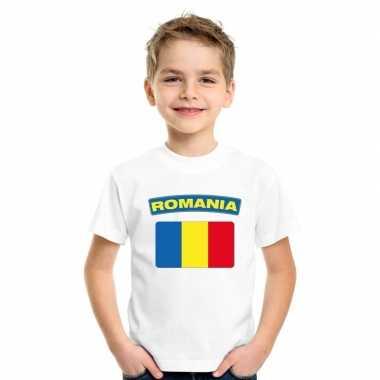 T-shirt roemeense vlag wit kinderen