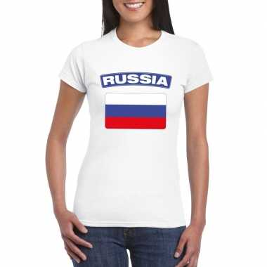 T-shirt russische vlag wit dames
