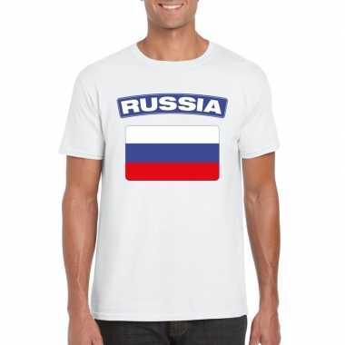 T-shirt russische vlag wit heren