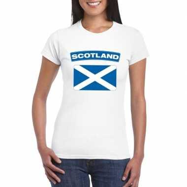 T-shirt schotse vlag wit dames