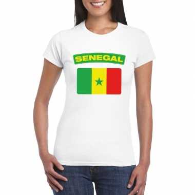 T-shirt senegalese vlag wit dames