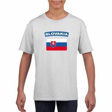 T-shirt slowaakse vlag wit kinderen