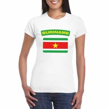T-shirt surinaamse vlag wit dames