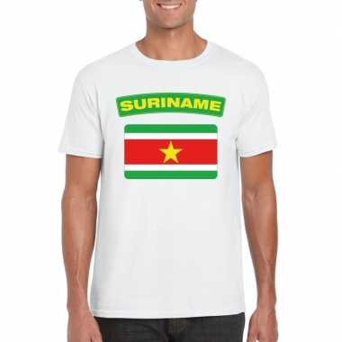 T-shirt surinaamse vlag wit heren