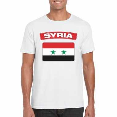 T-shirt syrische vlag wit heren