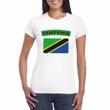 T-shirt tanzaniaanse vlag wit dames