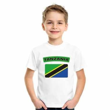 T-shirt tanzaniaanse vlag wit kinderen
