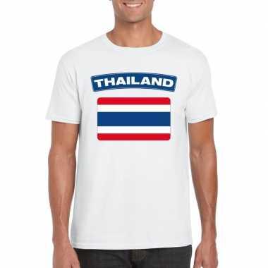 T-shirt thaise vlag wit heren