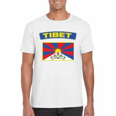 T-shirt tibetaanse vlag wit heren