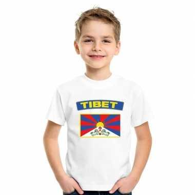 T-shirt tibetaanse vlag wit kinderen