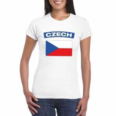 T-shirt tsjechische vlag wit dames