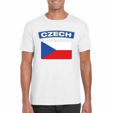T-shirt tsjechische vlag wit heren