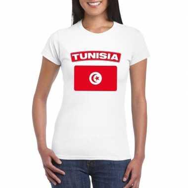 T-shirt tunesische vlag wit dames