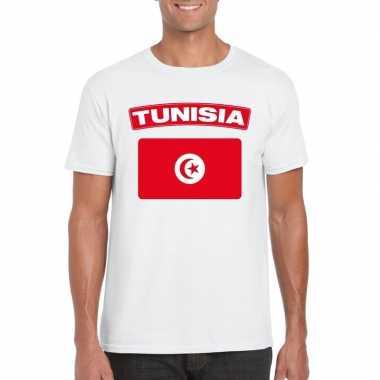 T-shirt tunesische vlag wit heren