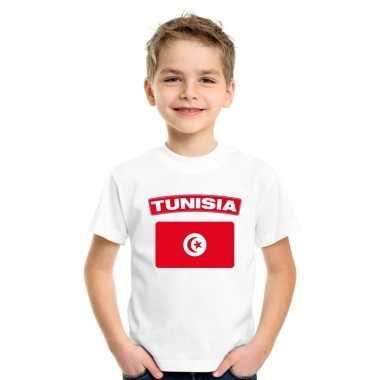 T-shirt tunesische vlag wit kinderen