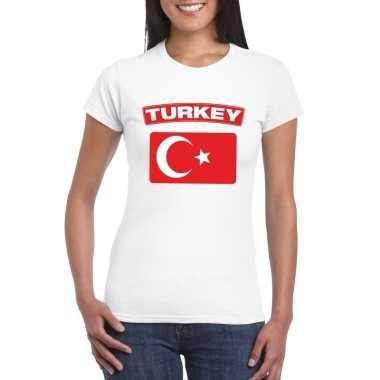 T-shirt turkse vlag wit dames