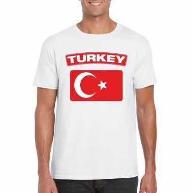 T-shirt turkse vlag wit heren